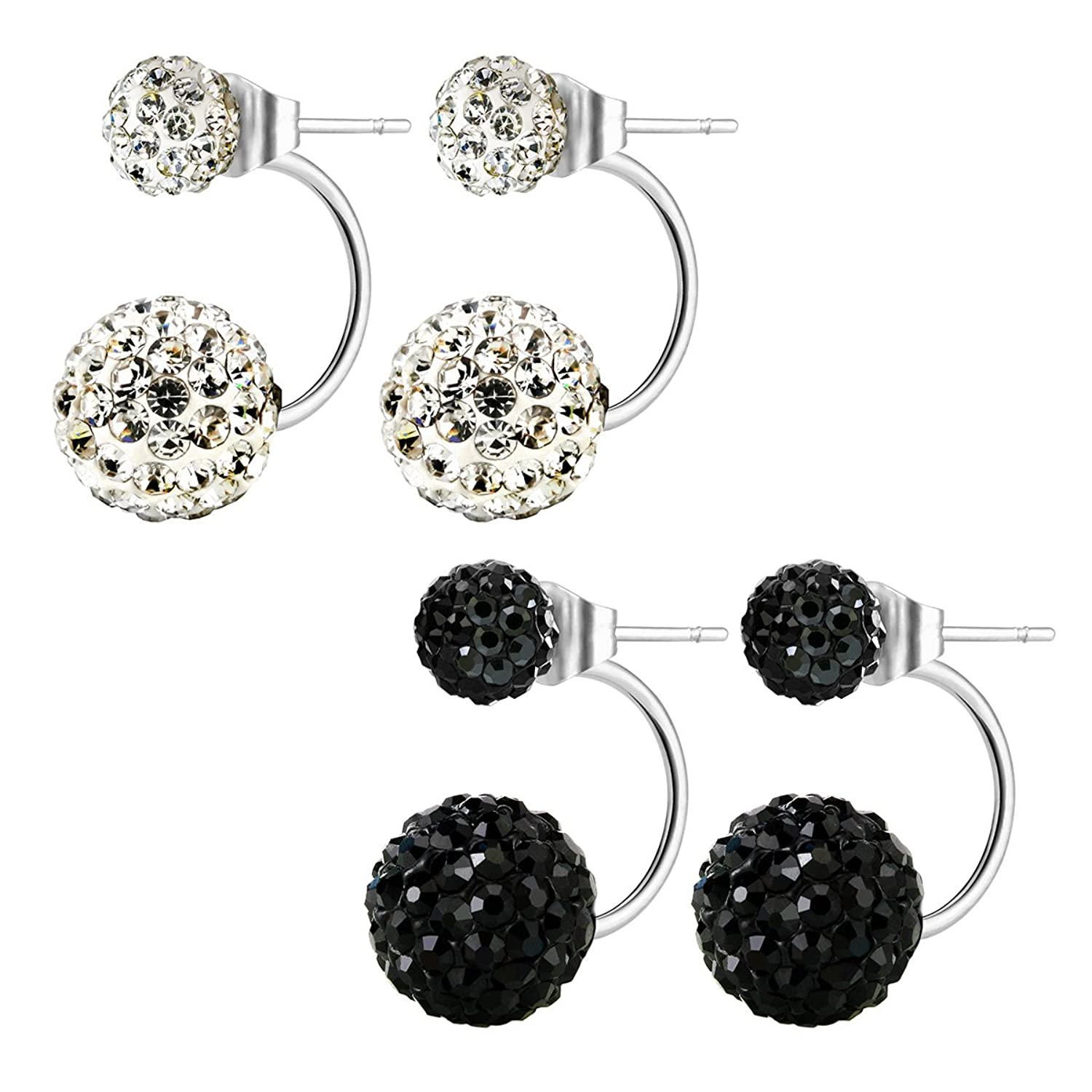 JewelrieShop Lady Assorted Colors Hypoallergenic Double Balls Stud Earrings Rhinestones Crystals Ear Rings
