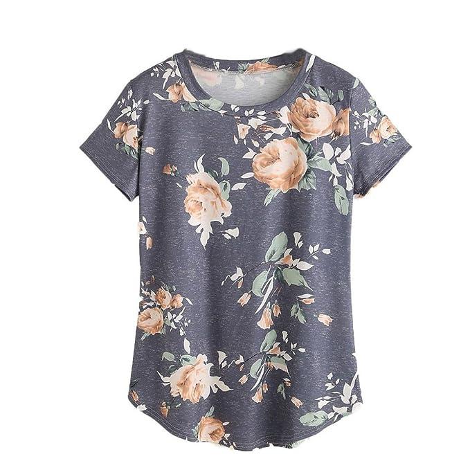 HARRYSTORE Moda mujer sencilla de manga corta Blusa de impresión Tank Tank Top Blusa Camiseta (