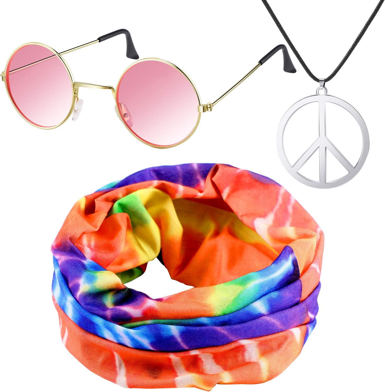 7 Pieces Hippie Costume Set Colorful Tie-Dye T-Shirt Peace Sign Necklace for Kid 60s 70s Theme Parties