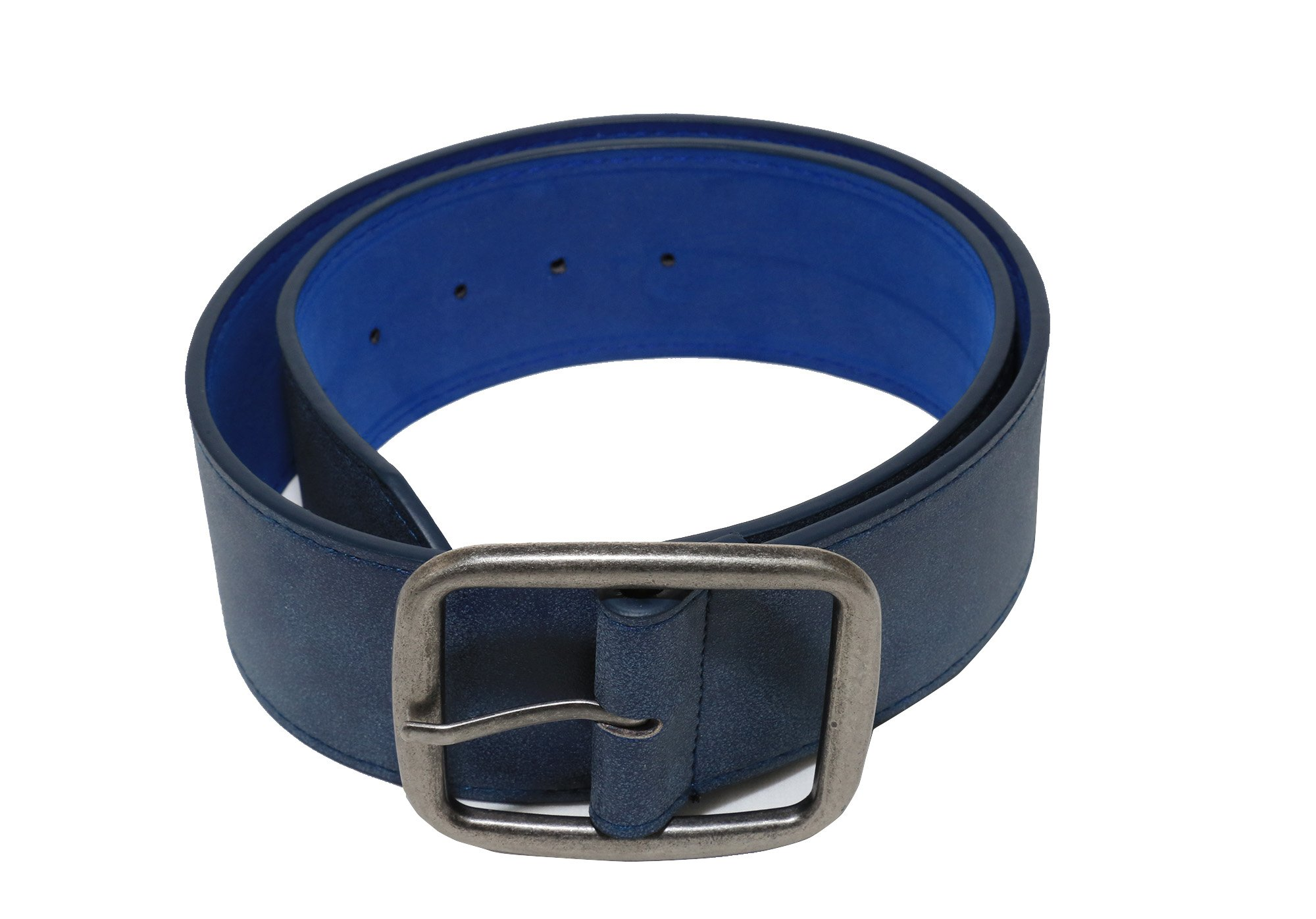 Modeway Women 2'' Wide Suede Leather Silver Square Buckle Adjustable Waist Belts (S-M, Navy-4#) by Modeway (Image #8)