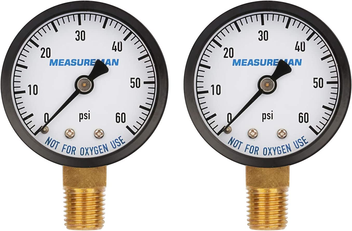 "Measureman 2"" Dry and Utility Pressure Gauge, Swimming Pool Filter Pressure Gauge, Spa, Aquarium, Water Pressure Gauge, 1/4"" NPT Lower Mount 0-60Psi x 2 pcs"