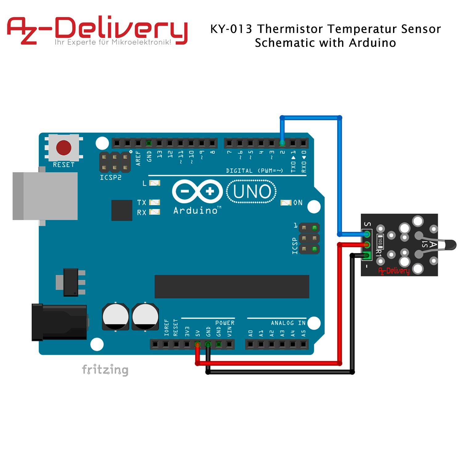 AZDelivery Set of 3 Ky 013 Thermistor Temperature Sensor Module for Arduino