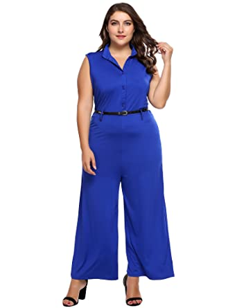 9c63a17a364c IN VOLAND Women Plus Size Rompers Sleeveless V-Neck Wide Leg Jumpsuit