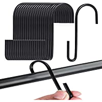VIPITH 20 Pack 3.7 Inch S Hooks Black Rustproof Heavy-Duty Stainless Steel S Shaped Hooks Hangers for Hanging Pans Pots…