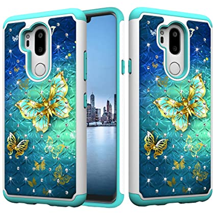 Bling Glitter Diamond 2 in 1 Drop Protection Hybrid Heavy Duty Shock Dual Layer Armor Defender 3D Pattern Case Cover Fit for LG G7 ThinQ 2018-cai Dream DAMONDY LG G7 Case//LG G7 ThinQ Case