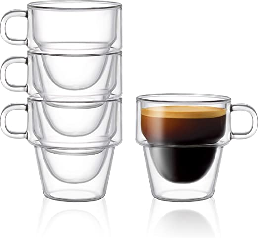 Double Wall Glass Espresso Coffee Shot Thermo Insulated Cups Borosilicate 4 PCS