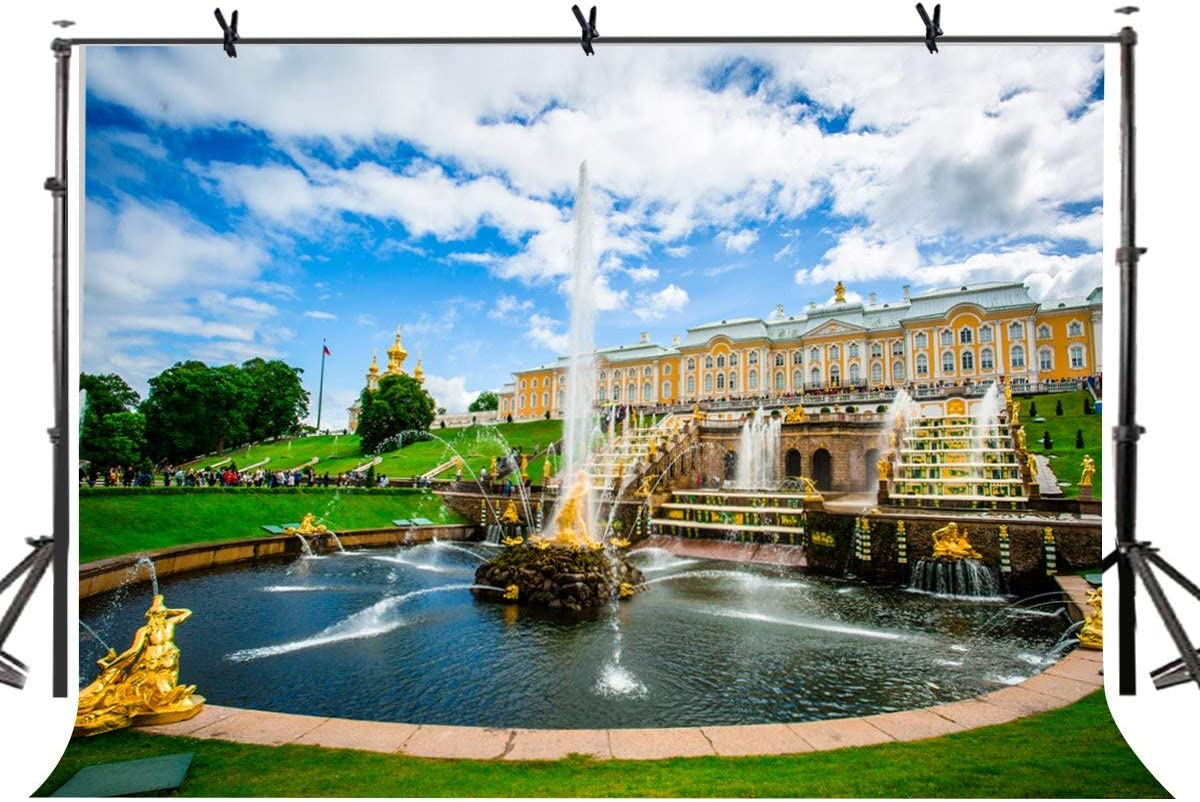 SZZWY 7X5ft Polyester Photography Background Romantic Russia Peterhof Fountain Photography Background Studio Props LYHUI087