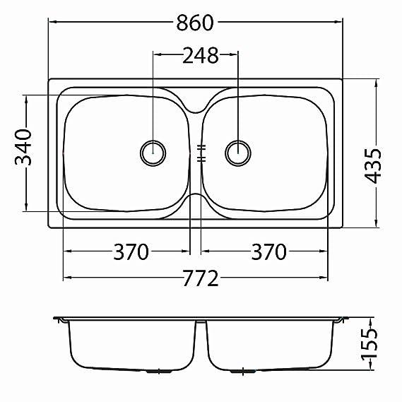 Alveus Basic 70 Einbau Küchenspüle 860 x 435 mm Doppelspüle 2 Becken ...