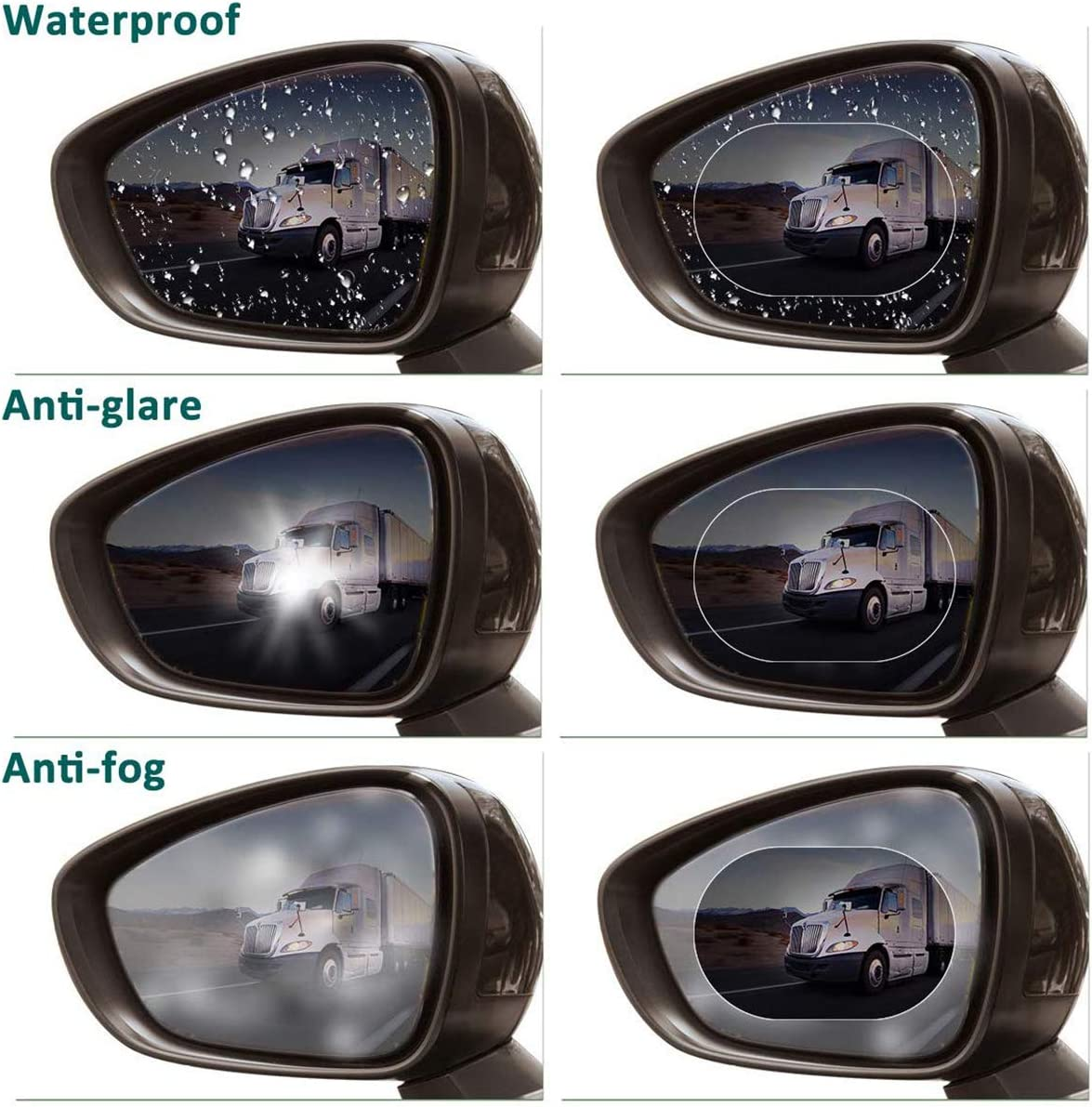 2Pcs of Car Blind Spot Mirror Blue Protective Membrane for Window Waterproof and Anti Fog Rear View Film