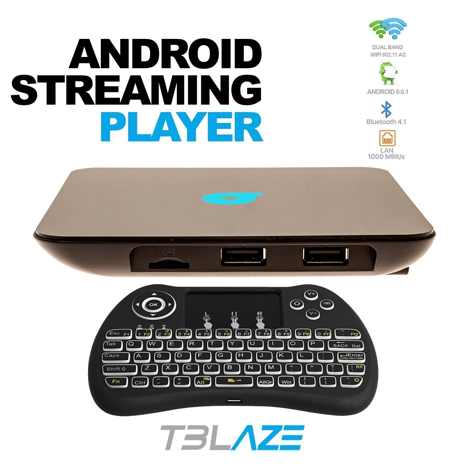 Tblaze Android TV Box Amlogic S912 Octa-core CPU 64-Bit 4K/3D/2GB/16GB AC Wireless Dual Band WiFi 2.4GHz/5GHz Ready To Stream Media Center,Keyboard Remote,Updated Version Realtime Firmware Updates by Tblaze (Image #5)