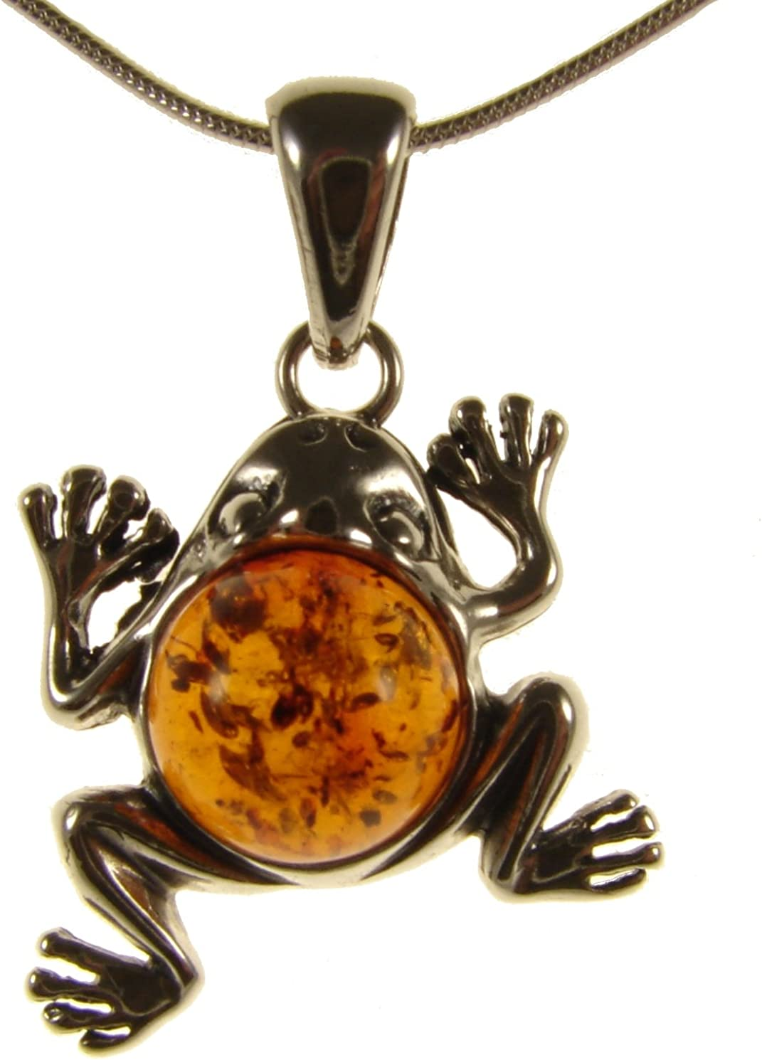 Green Baltic Amber Frog Pendant with Silver 925