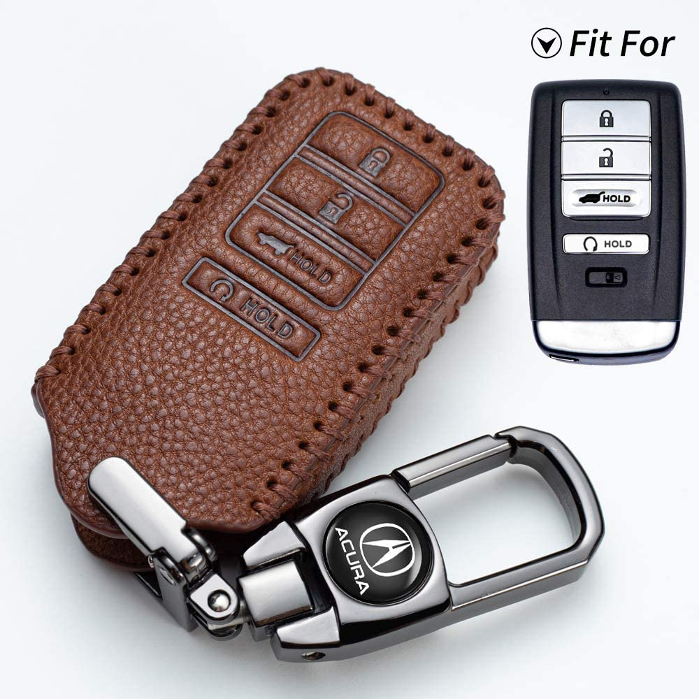 2016-2018 Acura ILX 4 Buttons Smart Leather Case Key Fob Cover Keyless Car Remote Holder KR5V1X Compatible with fit for 2016-2018 Acura RLX 2015-2019 Acura TLX Case /& Key Ring