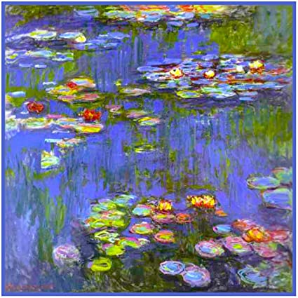 Impressionist Monet Water Lilies Bloom Counted Cross Stitch Pattern