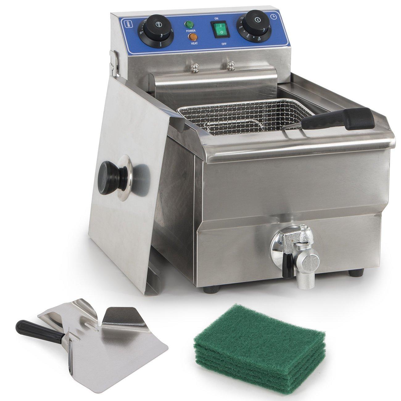 ARKSEN 1500W Stainless Steel 10 Liter Electric Deep Fryer Portable Drain, UL Listed