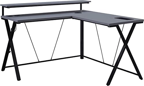 OSP Home Furnishings Checkpoint Battlestation L Shaped Gaming Desk