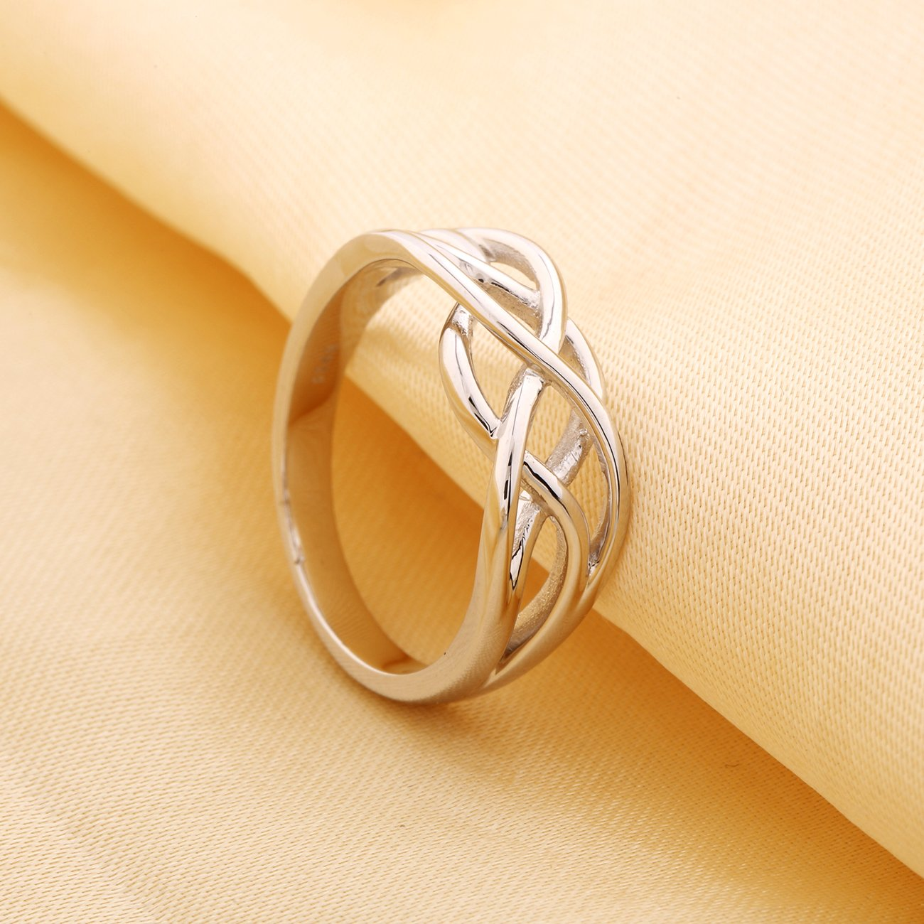 GULICX 925 Sterling Silver Ring Celtic Everlasting Love Knot Filigree Wedding Finger Ring Size R