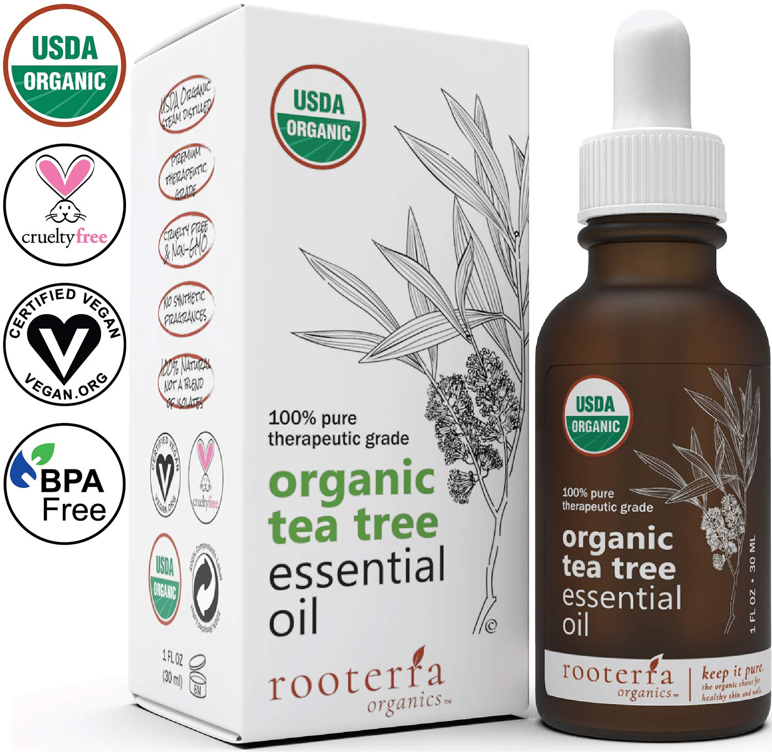 Rooterra Organics Tea Tree Essential Oil | 100% USDA Organic Premium Therapeutic Grade | 100% Pure & Natural | Best Antifungal, Acne & Lice Remedy | Hair, Nail, Skin Health | Cert Vegan | 1 OZ - 30ml by Rooterra Organics