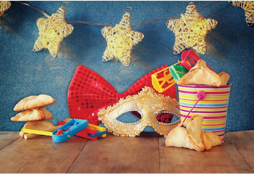 Haoyiyi 5x3ft Happy Purim Background Mini Masquerade Mask Masks Hamantaschen Israel Bokeh Glitter Sparkle Blue Backdrop Photography Kids Adults Dancing Party Holiday Photo Booth Props