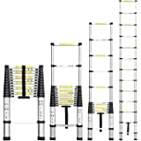 Corvids 5.0m (16.5 ft) Portable & Compact Aluminium Telescopic Ladder, EN131 Certified, 14-Steps Foldable Multipurpose Step Ladder for Home & Outdoor use
