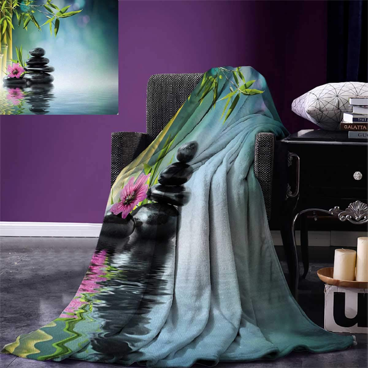 Spa Digital Printing Blanket Tower Stone and Hibiscus with Bamboo on The Water Blurry Background Summer Quilt Comforter 80''x60'' Petrol Blue Fuchsia Lime Green