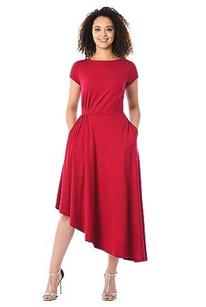 dd32f424848 eShakti FX Asymmetric Hem Cotton Knit Dress Short Haute red at Amazon  Women's Clothing store: