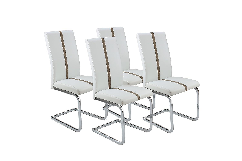 52 x 43 x 100 cm con Applicazioni Grigie Senza braccioli Cavadore Enzo 84141 52 x 43 x 100 cm L x P x A Grigio Pelle Sintetica Set di 4 sedie Cantilever in Similpelle Bianco