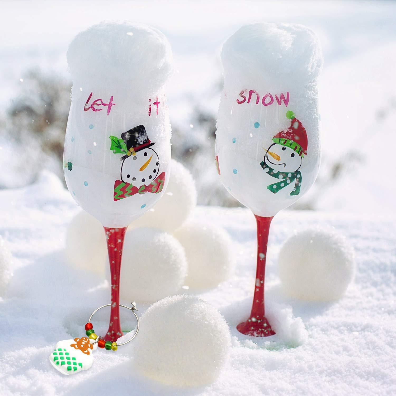 WILLBOND 24 Piezas Marcadores de Bebidas de Copa de Navidad Encantos de Copa de Vino Etiquetas de Bebidas Etiquetas de Copa de Vino con Dise/ño Simple de Hebilla para Fiesta Favorece Reuni/ón Familiar