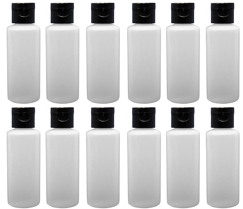 12 - 2-ounce Travel Bottles with Flip Caps (Black Cap)