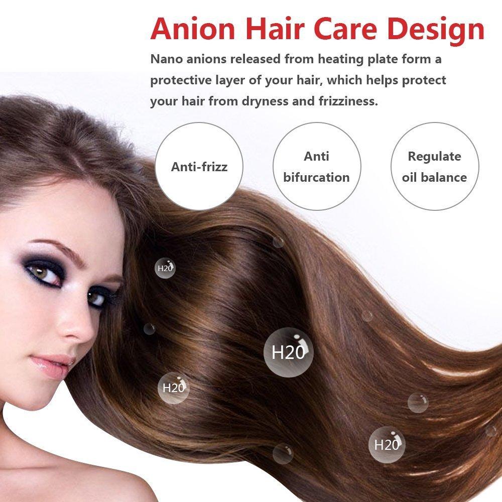 Orange Tech Ceramic Hair Straightener Brush, PTC Heating Technology, Temperatures Adjustable, Auto Shut Off, Anion Hair Care Anti Scald Design Straightening Brush for All Hair Types, Great Styler