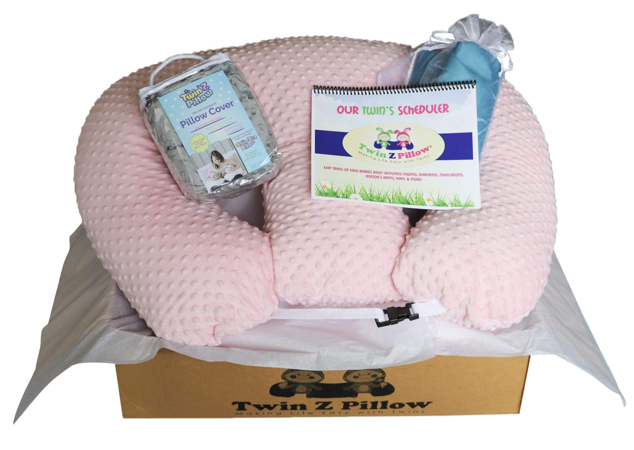 Twin Silver Gift Set - 1 Twin Z Pillow + 1 Pink Cover + 1 Grey Cover + Travel bag + Twin Scheduler