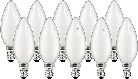 Pack de 10 bombillas de filamento LED mate – 2 W E14 360° – blanco cálido (2700 K): Amazon.es: Iluminación