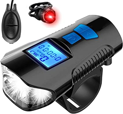 Rechargeable USB Bicycle Speedometer LED Bike Light Headlight Tail Light Horn