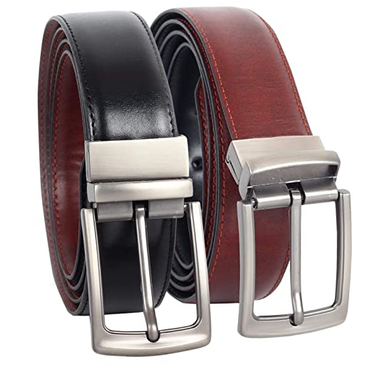 """7e2c5f2a8d503 Reversible Leather Belts for Men - 1.25"""" Wide Rotated Buckle Ratchet Mens  Leather Belt"""