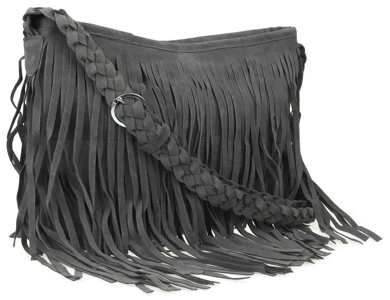 Ayliss Hippie Suede Fringe Tassel Messenger Bag Women Hobo Shoulder Bags Crossbody Handbag,Gray