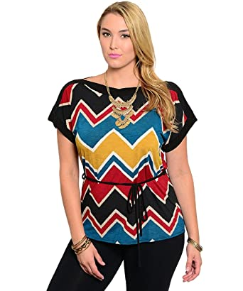 fd8efd10113 Libian Women Top Plus Size 3X Chevron Multi Color Kimono Sleeves ...