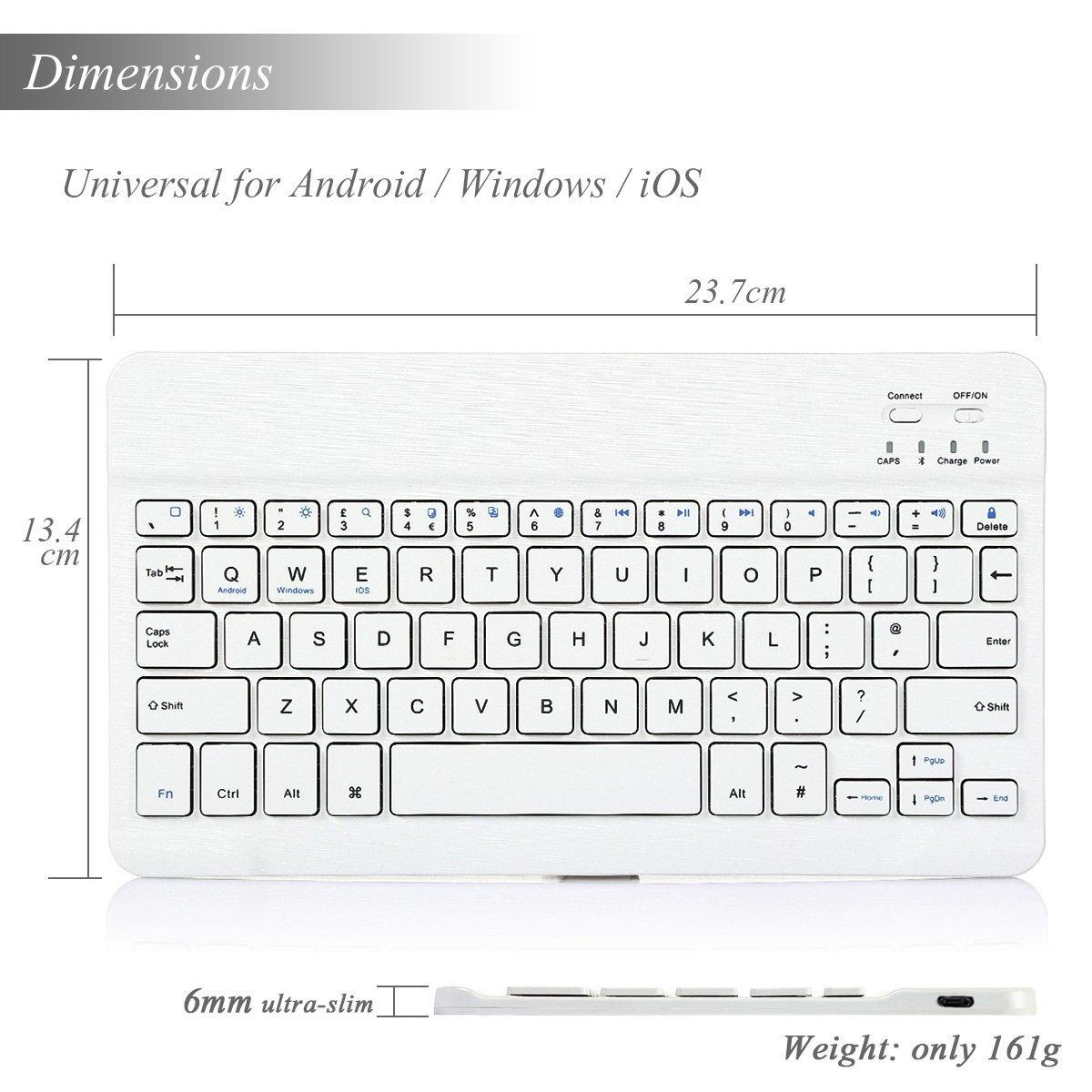 CoastaCloud Portable 10-inch Ultra Slim ABS Wireless Bluetooth Keyboard for iPad 10.5, iPad 9.7'', iPad Pro, iPad Air, iPad 2/3/4, Galaxy Tab Note and Any iOS, Android, Windows Tablets (White) by CoastaCloud (Image #4)