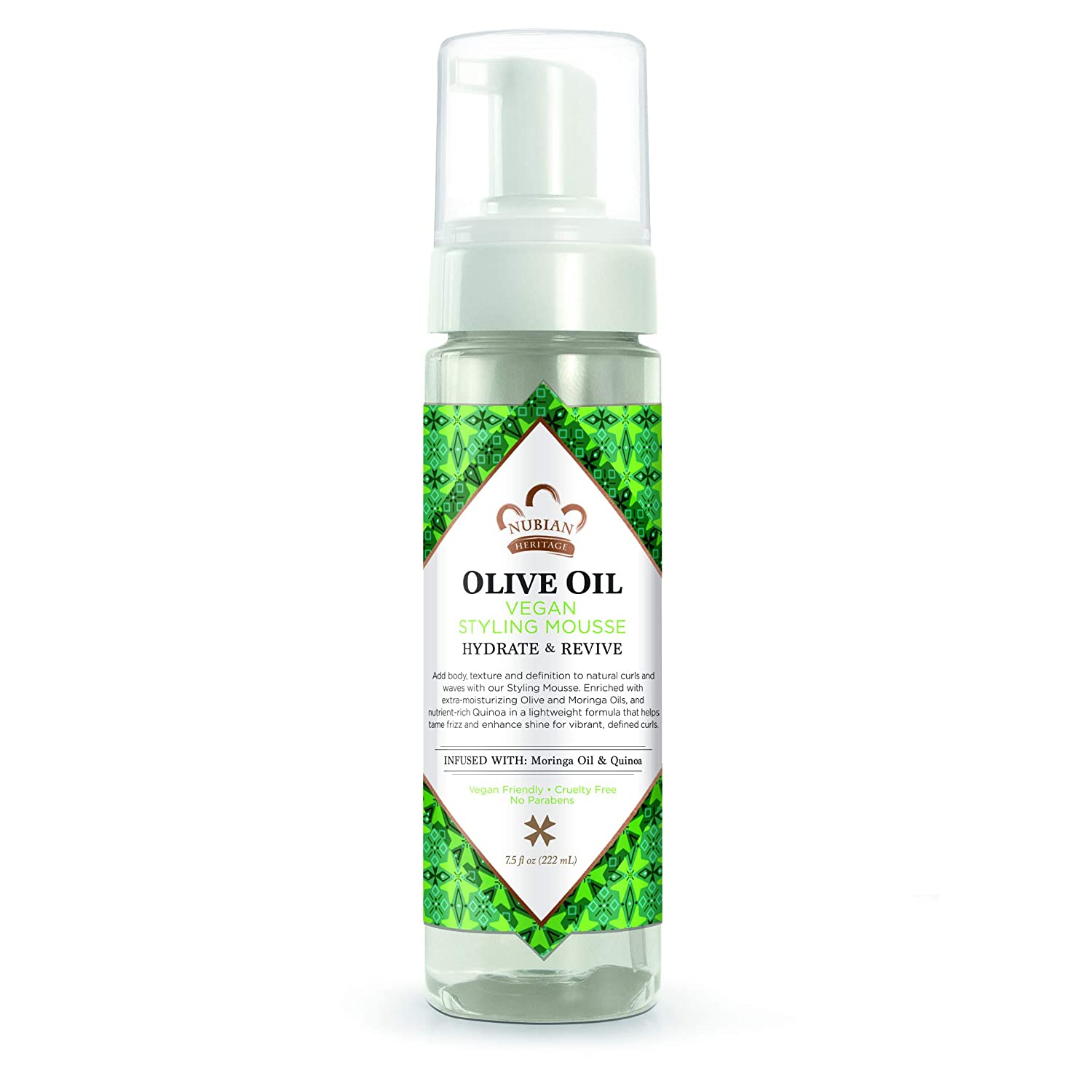 Nubian Heritage Weightless Styling Mousse for Dry Hair, Olive Oil Hair Mousse That Nourishes for Healthy and Hydrated Hair, 7.5 Oz