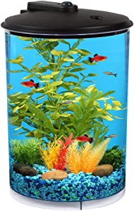 Koller Products AquaView 360 3-Gallon Aquarium with Power Filter & LED Lighting
