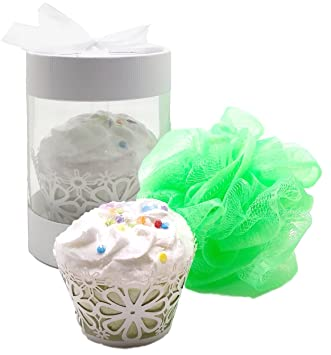 Happy Birthday Bath Bomb Cupcake With Loofah Pouf In Gift Box Cake