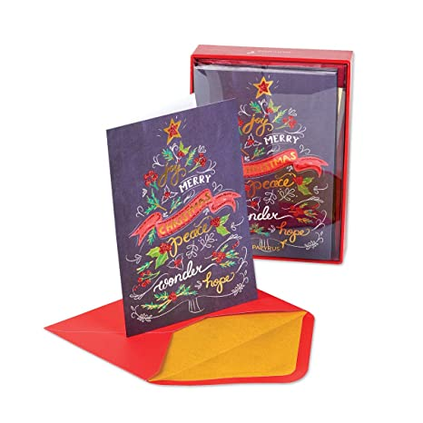 Papyrus Christmas Cards.Papyrus Boxed Christmas Cards Chalkboard Christmas Tree 14pk