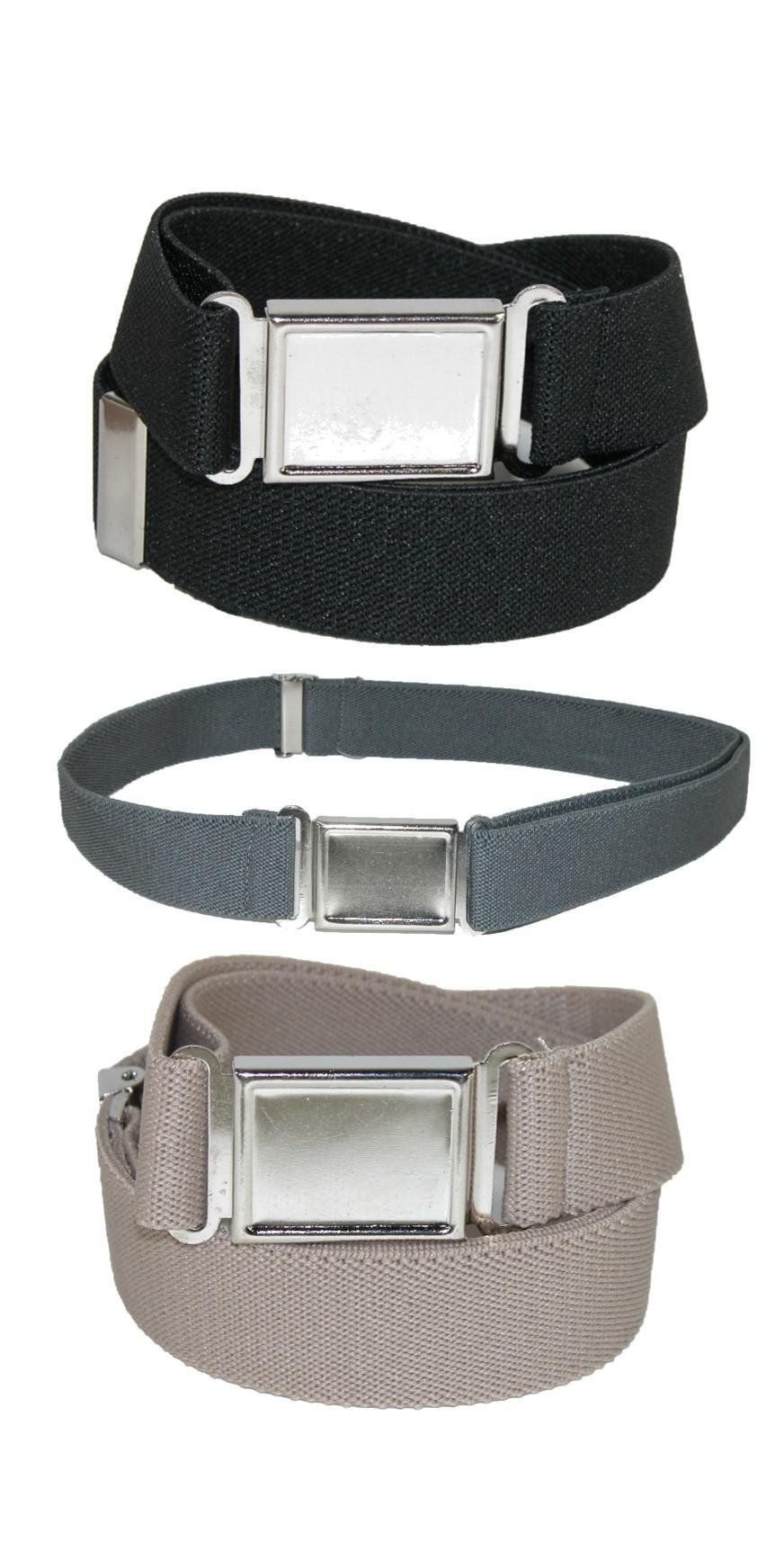 CTM Kids' Elastic Adjustable Belt with Magnetic Buckle (Pack of 3 Colors)