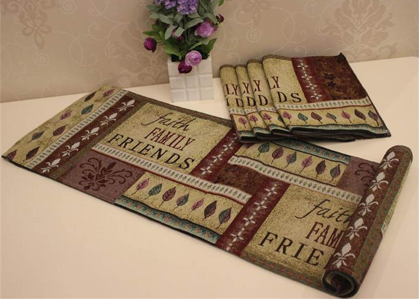 Americans Placemats & Table Runner - MeMoreCool Healthy Color Weaving Faith Words Family - Size Gifts