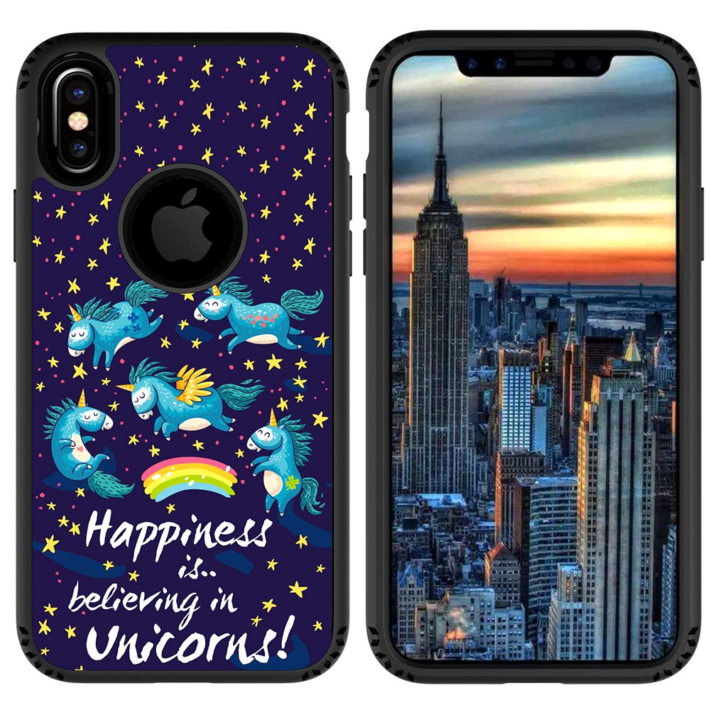 iPhone X Case, MagicSky Shockproof Slim Corner Protection with Resilient Shock Absorption Rubber Protective Case Cover for Apple iPhoneX - Unicorns