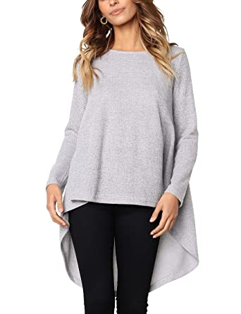 ee4b7a6611a Blooming Jelly Womens Long Sleeve Hi Low T Shirts Knit Asymmetrical Tops  Tunic Sweatshirt(S