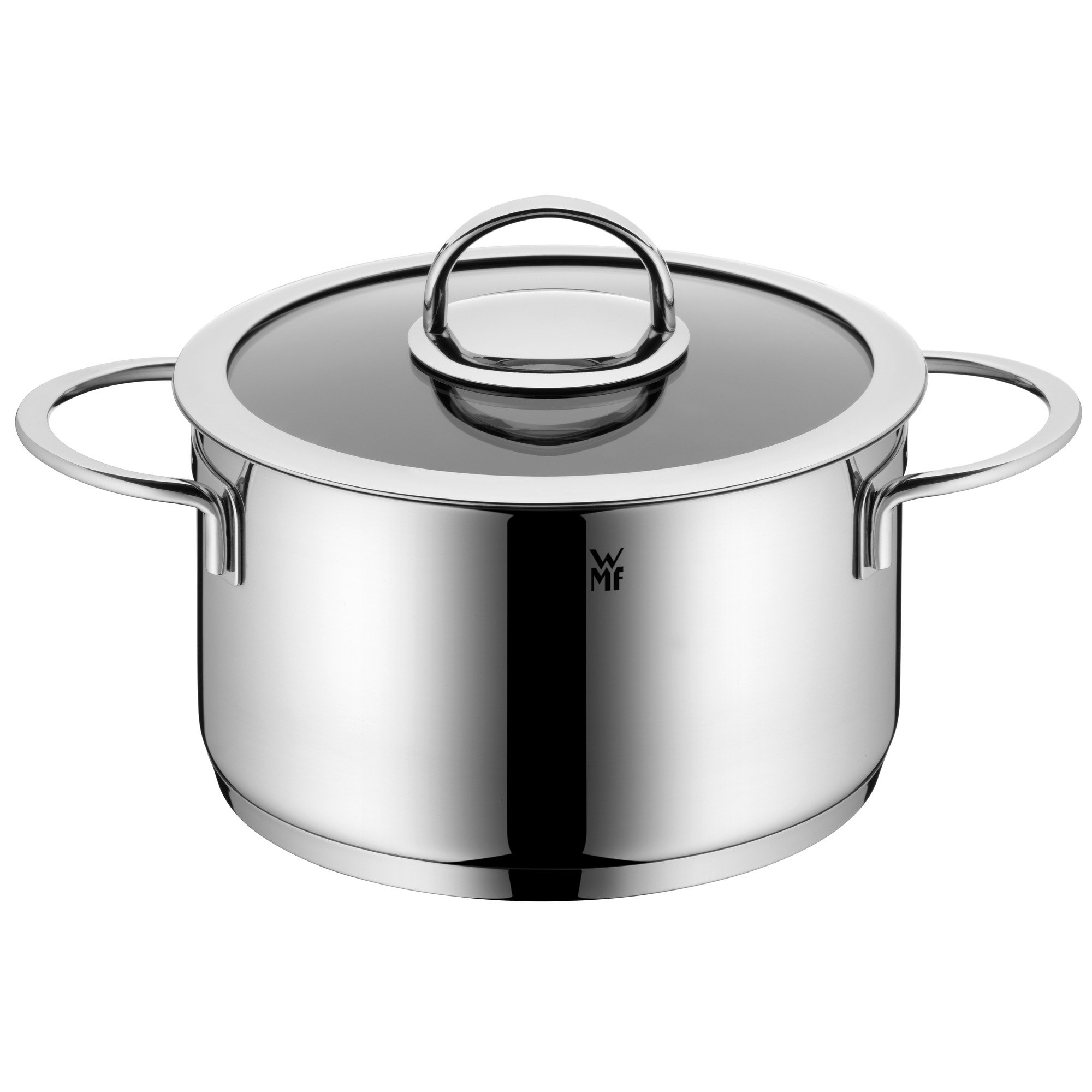 WMF High Casserole Ø 20 cm Approx. 3.8L Vignola Coated Glass Lid Cromargan Stainless Steel Polished Suitable for Induction Hobs Dishwasher-Safe