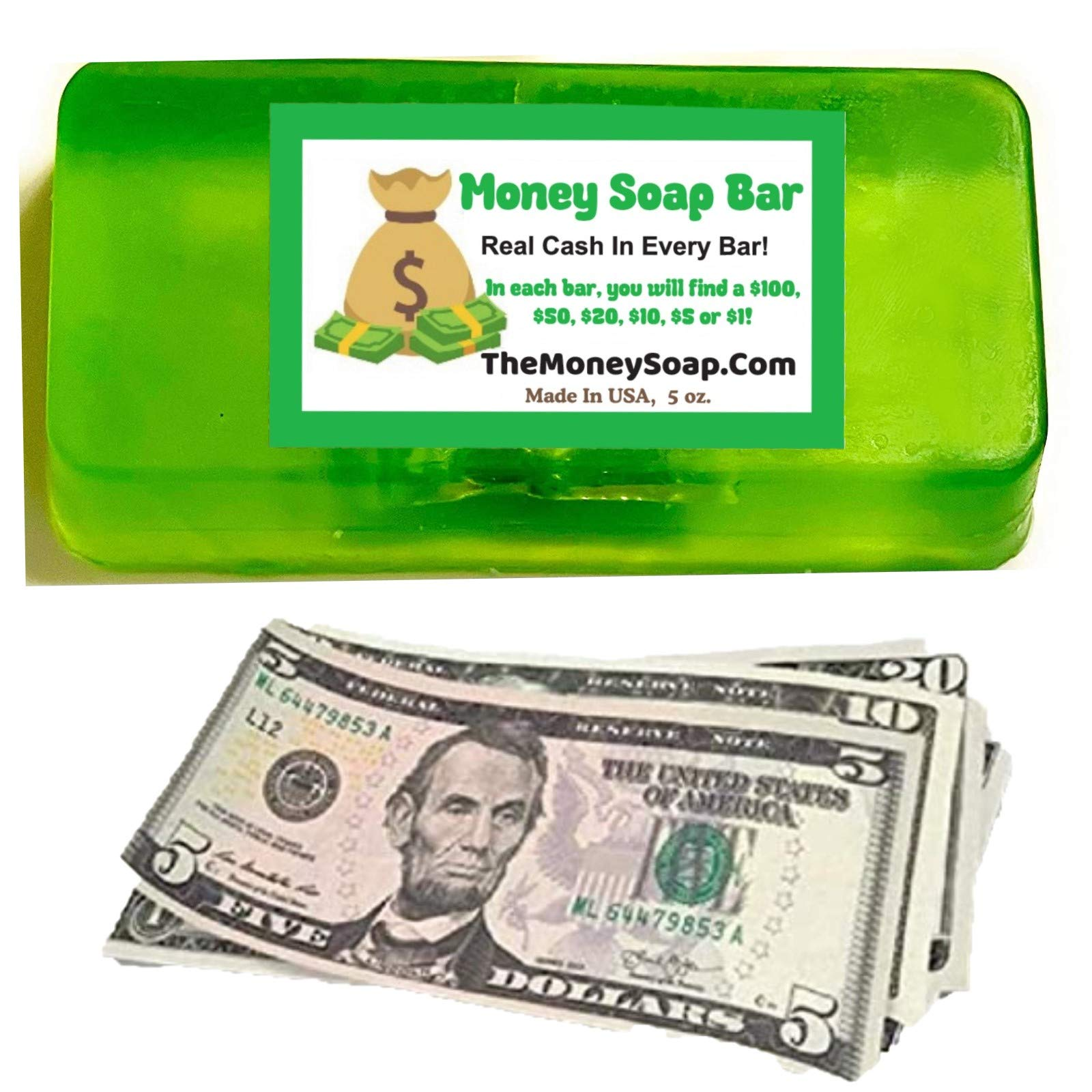Money Soap Jackpot Real Cash In Every Bar, Practical Joke Gag Gifts, Green With A Fruity Scent, Fun Gifts For Him Or Her, Up To 100 In Each One, Made In USA