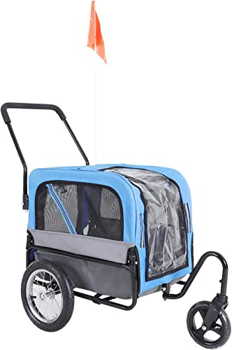 Aosom Elite-Jr 2-in-1 Dog Pet Bicycle Trailer Jogging Stroller with 360-Degree Swivel Wheels Large Easy Entry