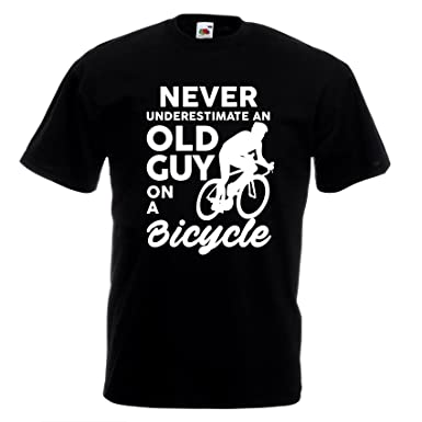 913f12b5 Never Underestimate Old Guy On Bike T-shirt Joke Funny Cycling Gift Cyclist  Top (XXL): Amazon.co.uk: Clothing
