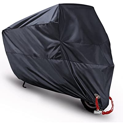 MONOJOY Motorcycle Cover Waterproof, Outdoor Scooter Covers for All Weather with Never Rust Copper Lockhole Compatible Harley Honda Suzuki Yamaha Prevent Rain Snow Sun UV Black 116''x43''x55'' XXXXL: Automotive