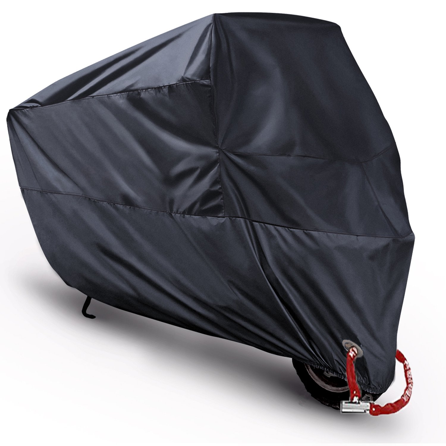 Motorcycle Cover Waterproof Motorbike Scooter Shelter Outdoor Dustproof All Weather Protection,Anti-theft Copper Lock Holes[Never Rust], for Honda Kawasaki Yamaha Suzuki Harley Davidson (XL 90''(Black)